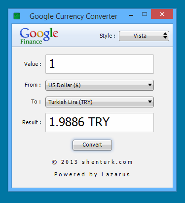 Google Currency Converter 1.0 Windows