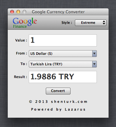 Google Currency Converter 1.0 Mac OS X