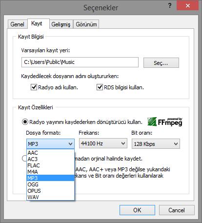 RDK 5.3 Dosya formatı Seçenekleri